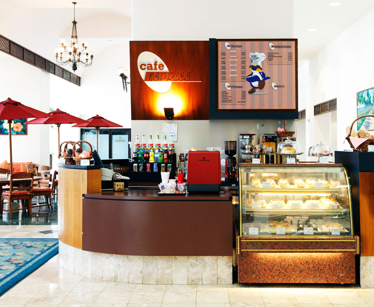 Coffee and tea drinks in the lobby at Pacific Islands Club Guam, Tumon